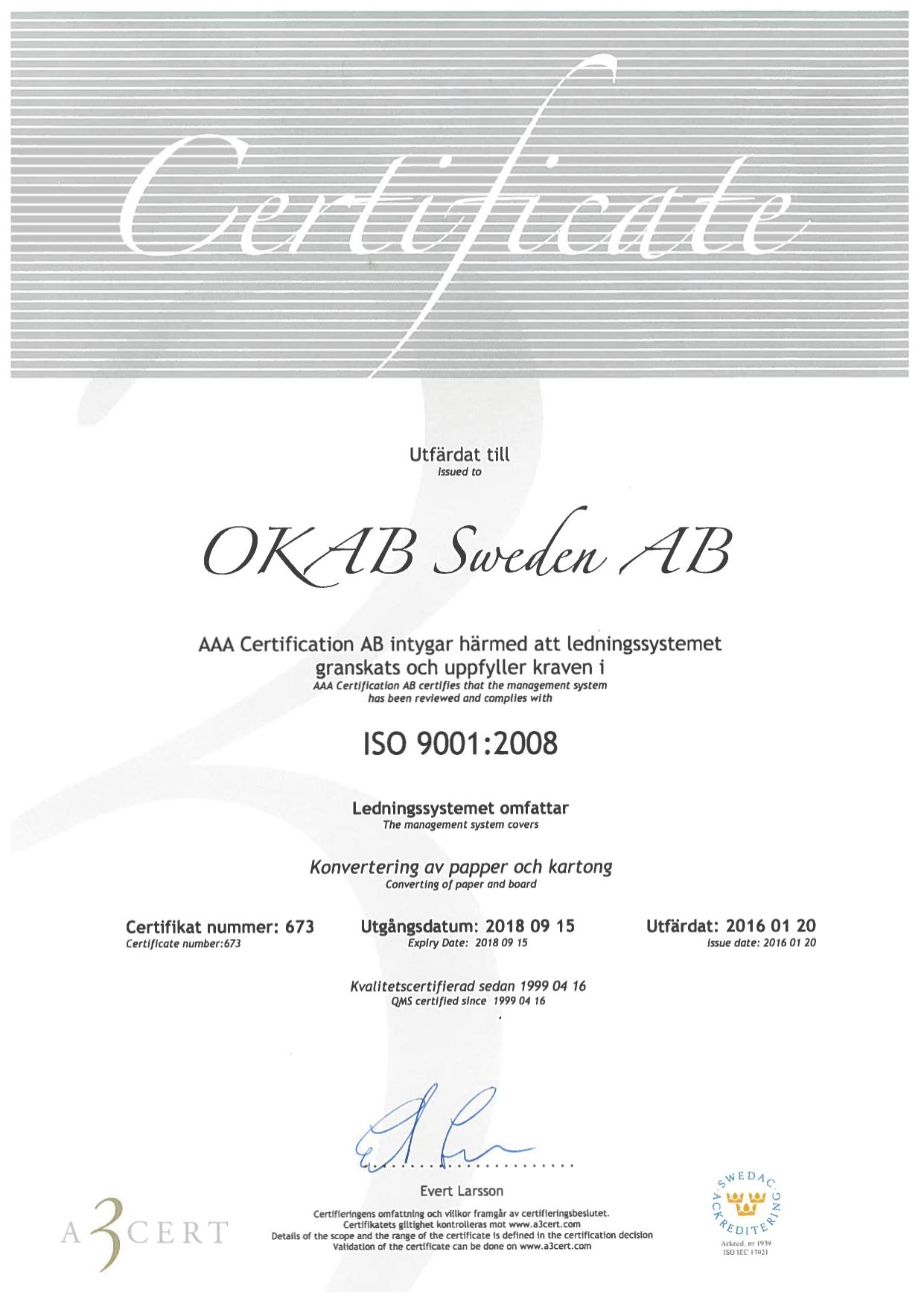 Sweden ISO9001:2008 2016