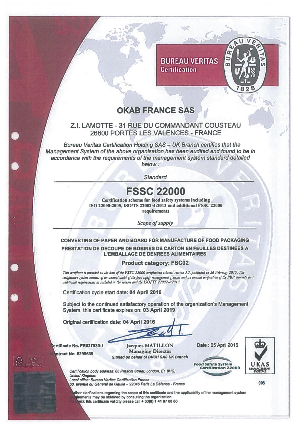 France FSSC22000 2016