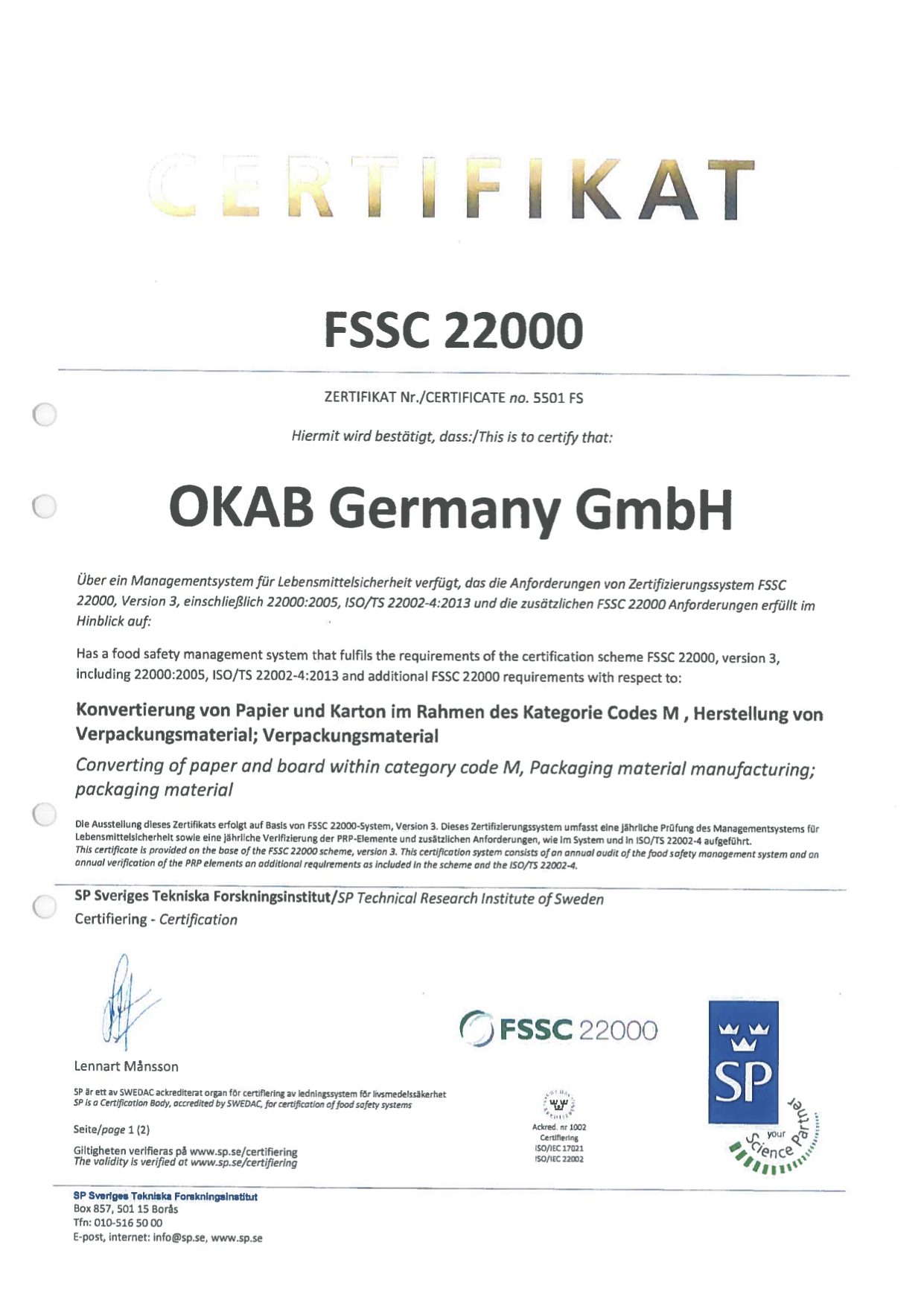 Germany FSSC22000 2016