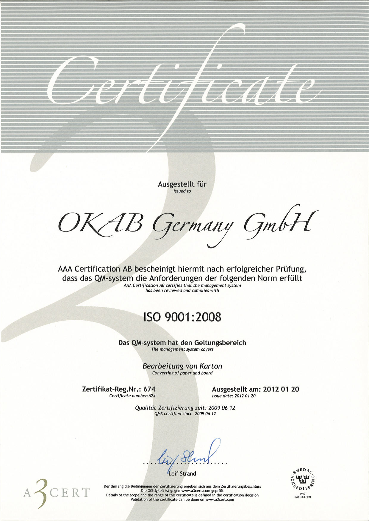 Germany ISO9001 2008